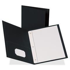 "Two Pocket Folder - Letter - 8 1/2"" x 11"" Sheet Size - 100 Sheet Capacity - 3 x Prong Fastener(s) - 2 Inside Front & Back Pocket(s) - Leatherette - Black - Recycled - 25 / Box"