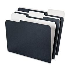 Pendaflex Earthwise 1/3 Cut Recycled File Folder - 1/3 Tab Cut - Assorted Position Tab Location - 11 pt. Folder Thickness - Black, White - 50 / Pack