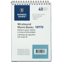 """Business Source Wirebound Memo Books - 40 Sheet(s) - Wire Bound - 6"""" x 4"""" Sheet Size - White Sheet(s) - 1 Dozen"""