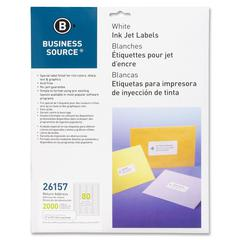 """Business Source Mailing Label - Permanent Adhesive - 0.50"""" Width x 1.75"""" Length - Rectangle - Inkjet - White - 2000 / Pack"""