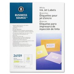 "Business Source Mailing Label - Permanent Adhesive - 1"" Width x 4.25"" Length - Rectangle - Inkjet - White - 2000 / Pack"
