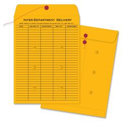 "Interdepartmental Envelope - Interoffice - #32 - 10"" Width x 15"" Length - 32 lb - String/Button - Kraft - 100 / Box - Brown Kraft"