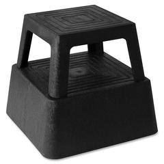 "Genuine Joe Structural Plastic Step Stool - 350 lb Load Capacity - 14.3"" x 14.3"" x 13"" - Black"