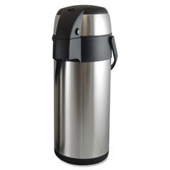 Genuine Joe High Capacity Vacuum Airpot - 3.7 quart (3.5 L) - Vacuum - Stainless Steel