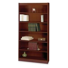 "Safco Mahogany Square-edge Veneer Bookcase - 36"" x 12"" x 72"" - 6 x Shelf(ves) - 600 lb Load Capacity - Mahogany - Veneer - Wood, Particleboard - Recycled - Assembly Required"