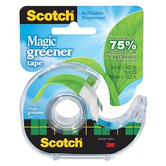 "Scotch Magic Greener Tape in Dispenser - 0.75"" Width x 50 ft Length - 1"" Core - Photo-safe, Non-yellowing, Writable Surface - Dispenser Included - Handheld Dispenser - 1 Roll - Clear"