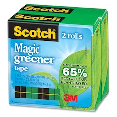 "Scotch Magic Eco-friendly Magic Tape - 0.75"" Width x 75 ft Length - 1"" Core - Photo-safe, Non-yellowing, Writable Surface - 2 / Pack - Matte Clear"