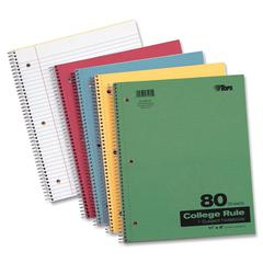 "TOPS Wirebound 80 Sheet College Ruled Notebook - 80 Sheets - Wire Bound - Ruled Red Margin 11"" x 9"" - 0.3"" x 9""11"" - Assorted Paper - Red, Green, Yellow, Blue Cover - Pressboard Cover - Perforated - 1"