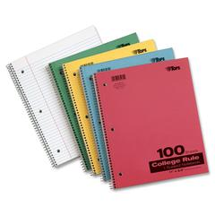 "TOPS Wirebound 100 Sheet College Ruled Notebooks - 100 Sheets - Printed - Wire Bound - Letter 8.50"" x 11"" - Assorted Paper - Red, Blue, Yellow, Green Cover - Pressboard Cover - 1Each"