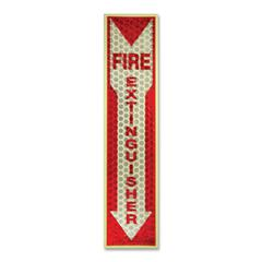 "Luminous Fire Extinguisher Sign - 1 Each - Fire Extinguisher Print/Message - 4"" Width x 16.8"" Height - Rectangular Shape - Red Print/Message Color - Reflective, Flexible, Adhesive, Recy"