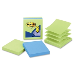 "Pop-up Notes, 3 in x 3 in, Limeade and Electric Blue - 300 - 3"" x 3"" - Square - 100 Sheets per Pad - Unruled - Limeade, Electric Blue - Paper - Fanfold, Pop-up - 3 Pad"
