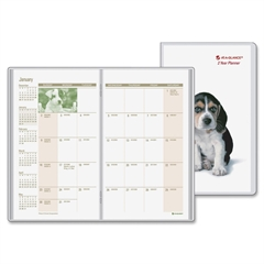 "At-A-Glance Puppies 2-year Pocket Planner - Julian - Monthly - 2 Year - January till January - 1 Month Double Page Layout - 3.50"" x 6"" - Stapled - Phone Directory, Address Directory"
