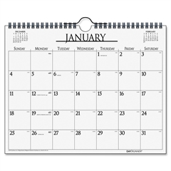 """Day Runner Month-in-View Calendar - Julian - Monthly - January 2017 till December 2017 - 1 Month Single Page Layout - 15"""" x 12"""" - Wire Bound - Wall Mountable - White - Chipboard - Hanging Loop"""