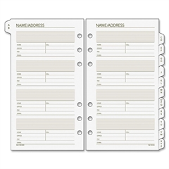 "Day Runner Telephone/Address A-Z Planner Tab - 3.75"" x 6.75"" - 6-ring - White - Paper - Hole-punched, Tabbed"