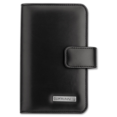 "Day Runner Windsor Undated Day Planner - Monthly - 3.25"" x 6.37"" - Wire Bound - Black - Refillable, Snap Closure"