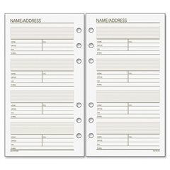 "Day Runner Undated Telephone/Address Planner Page Refill - 3.75"" x 6.75"" - White, Cream - Paper - Hole-punched, Phone Directory, Address Directory"