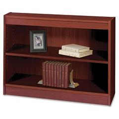 "Square-Edge Bookcase - 36"" x 12"" x 30"" - 2 x Shelf(ves) - 200 lb Load Capacity - Mahogany - Veneer - Particleboard, Wood - Recycled - Assembly Required"