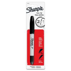 Sharpie Twin Tip Permanent Marker - Fine, Ultra Fine Point Type - Black Alcohol Based Ink - 1 / Pack
