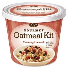 Njoy M.Harvest Gourmet Toppings Oatmeal Kit - Resealable Lid, Individually Wrapped - Mixed Fruit, Mixed Nut, Brown Sugar, Morning Harvest - Cup - 1 Serving Cup - 8 / Carton