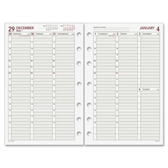 "Day Runner Vertical Weekly Planning Pages - Julian - Weekly - 1 Year - January 2018 till December 2018 - 7:00 AM to 8:00 PM - 1 Week Double Page Layout - 5.50"" x 8.50"" - 7-ring - White - Hole-punched"