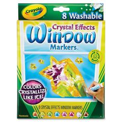 Crayola Crystal Effects Washable Window Markers - Brown, Orange, Red, Violet, Blue, Green, Yellow, Clear - 8 / Set
