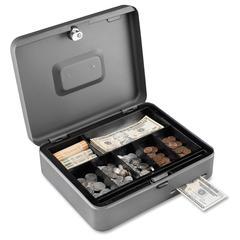 "Steelmaster Tiered Tray Cash Box - 2 Bill - 5 Coin - Steel - Gray - 3.2"" Height x 11.8"" Width x 9.4"" Depth"
