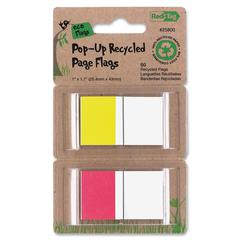 """Redi-Tag Recycled Flag - 25 x Red, 25 x Yellow - 1"""" x 1.70"""" - Assorted - Removable, Repositionable, Solvent-free Adhesive - 50 / Pack"""