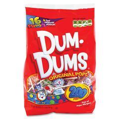 Dum Dum Pops Spangler Candy Co. Dum Dums Original Pops Candy - Assorted - Fat-free - 200 / Bag
