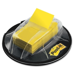 """Post-it Flags in Desk Grip Dispenser, Yellow, 1 in. Wide - 200 - 1"""" x 1.75"""" - Rectangle - Unruled - Yellow - Removable, Self-adhesive - 200 / Dispenser"""