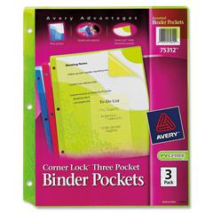 "Avery Corner Lock Three Pocket Binder Pockers - For Letter 8.50"" x 11"" Sheet - Ring Binder - Assorted, Pink, Blue - Poly - 3 / Pack"