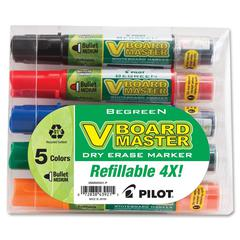 Pilot BeGreen VBoard Master Med. Bullet Marker - Medium Point Type - Bullet Point Style - Refillable - 5 / Pack