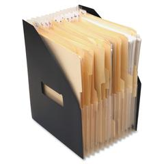 "Baumgartens Expanding Mobile Files - 25 x Magazine - 13 Compartment(s) - 12.5"" Height x 1"" Width x 10"" Depth - Recycled - Black - 1Each"