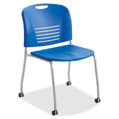 "Safco Vy Straight Leg Stack Chairs w/ Casters - Plastic Seat - Plastic Back - Steel Powder Coated Frame - Four-legged Base - Blue - Polypropylene - 18.50"" Seat Width x 17"" Seat Depth - 22.5"" Width x 1"