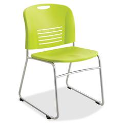 "Safco Vy Sled Base Stack Chairs - Plastic Seat - Plastic Back - Steel Powder Coated Frame - Sled Base - Grass Green - Polypropylene - 18.50"" Seat Width x 17"" Seat Depth - 22.5"" Width x 19.5"" Depth x 3"