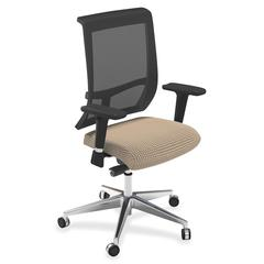 "Commute Series Mesh Back Chair - Fabric Latte Seat - 5-star Base - 25"" Width x 23"" Depth x 45"" Height"