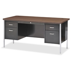 """Lorell Fortress Series Double Ped Teacher's Desk - 4 Drawers - 2 Pedestals - 60"""" Table Top Width x 30"""" Table Top Depth - 29.5"""" Height - Black - Laminated Top, Powder Coated - Steel, Vinyl"""