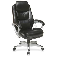 """Lorell Executive Leather high-back Chair - Leather Black Seat - Leather Back - 5-star Base - 21"""" Seat Width x 19.25"""" Seat Depth - 28.3"""" Width x 30"""" Depth x 47.3"""" Height"""