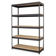 """Lorell Riveted Steel Shelving - 5 Compartment(s) - 72"""" Height x 48"""" Width x 18"""" Depth - Recycled - Black - Steel - 1Each"""