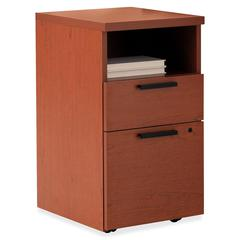"HON 10500 Series Desking Mobile Pedestal - 15.8"" x 18.9"" x 28"" - 2 x Box Drawer(s), File Drawer(s) - 1 Shelve(s) - Flat Edge - Material: Wood - Finish: Henna Cherry, Laminate"