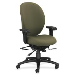 "HON 7600 Executive High-Back Chair w/Seat Glide - Olive Green Seat - Black Frame - 5-star Base - Olive Green - 19"" Seat Width x 20"" Seat Depth - 41.5"" Width x 27"" Depth x 45.3"" Height"