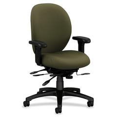"HON 7600 Series Mid-Back Chairs w/ Seat Glide - Olive Green Seat - Black Frame - 5-star Base - 19"" Seat Width x 20"" Seat Depth - 27.1"" Width x 39"" Depth x 42.5"" Height"