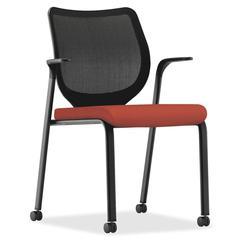 "Nucleus Series ilira-stretch M4 Stacking Chair - Foam Seat - Mesh Back - Four-legged Base - Poppy - 19"" Seat Width x 19"" Seat Depth - 27"" Width x 25.3"" Depth x 23"" Height"