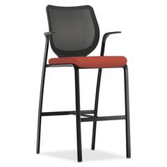 "HON Nucleus Series Cafe-height Stool - Foam Seat - Four-legged Base - Black, Harvest - 19"" Seat Width x 19"" Seat Depth - 25"" Width x 24.5"" Depth x 46.5"" Height"