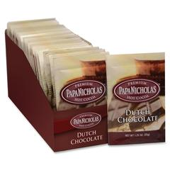 PapaNicholas Coffee Premium Hot Cocoa - Regular - Dutch Chocolate - 1.3 oz Per Carton - 24 Packet - 24 / Carton
