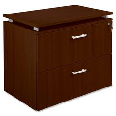 "Lorell Concordia Laminate Desk Ensemble - 35.5"" x 21.9"" x 29.5"" - 2 x Drawer(s) for File - Lateral - Lockable - Mahogany - Mahogany Laminate - Assembly Required"