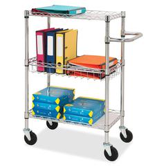 "Lorell 3-Tier Rolling Carts - 99 lb Capacity - 4 Casters - Steel - 16"" Width x 26"" Depth x 40"" Height - Chrome"