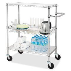 """3-Tier Rolling Carts - 99 lb Capacity - 4 Casters - Steel - 18"""" Width x 30"""" Depth x 40"""" Height - Chrome"""