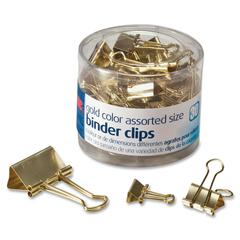 OIC Assorted Size Binder Clips - 30 / Pack - Gold - Metal