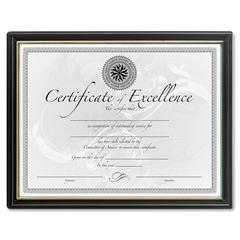 "DAX Black & Gold Certificate Frames - Holds 8.50"" x 11"" Insert - Plastic - Black"