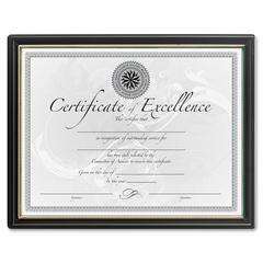 "DAX Black & Gold Certificate Frames - Holds 8.50"" x 11"" Insert - 1 Each - Plastic - Black"